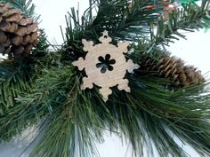 New xmas snowflake handmade ornament. This Xmas Christmas tree ornament is ready for your touch  stain, varnish paint or glitter them. by ShelbyLaser on Etsy