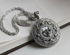 Apothecary's Water Aged Silver and Swarovski Necklace - Silver - Steampunk - Gothic - Fantasy - Magic - Men - Women - Bridal. $49.00, via Etsy.
