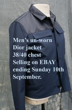 Mens un-worn casual jacket by Dior 38-40 chest. Ending on EBAY today Sunday 10th September 2017.