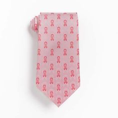 Tie - Pink Ribbon Tie - Pink silk ribbon cancer awareness tie.