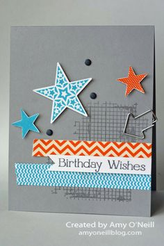 Masculine Star Birthday - Amy O'Neill - Stampin'' Up! Off the Grid, Simply Stars, and Four You stamp sets Birthday Cards For Boys, Masculine Birthday Cards, Handmade Birthday Cards, Masculine Cards, Happy Birthday Cards, Male Birthday, Boy Cards, Kids Cards, Washi Tape Cards