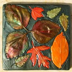 polymer clay art leaves | Fall leaf polymer clay coasters set of four