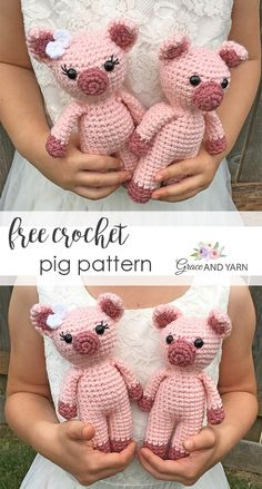 Mini Amigurumi Pig - A Free Crochet Pattern Free crochet pig pattern - Grace and Yarn Crochet Pig, Crochet Eyes, Crochet Animal Amigurumi, Crochet Amigurumi Free Patterns, Crochet Animal Patterns, Crochet Doll Pattern, Stuffed Animal Patterns, Cute Crochet, Crochet Animals