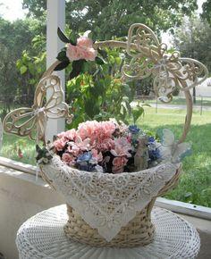 Wedding Basket Wedding Centerpiece Shower by Donellensvintage