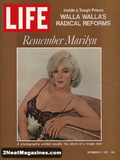 Life Magazine September 8, 1972 : Cover - Marilyn Monroe in lingerie, white satin, black lace and lots of skin.