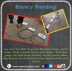 Looking for an active game to practise blending? Try 'Bouncy Blending'! For a word with 3 sounds, place 3 hoops on the floor in a 'column'. Place the sounds needed for the word next to each hoop. Then ask a child to jump into each hoop in turn and shout the sound. As they jump out of the last hoop they blend the word together and shout it! Our children really loved this game so why not give it a go? Thanks to Ace team member Deenie for the idea! x