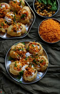 Doi Fuchka / Dahi Puri Chaat - Spicy World Simple and Easy Recipes by Arpita South Indian Snacks Recipes, Indian Veg Recipes, Indian Dessert Recipes, Vegetarian Recipes, Bangladeshi Food, Bengali Food, Puri Recipes, Chaat Recipe, Indian Street Food