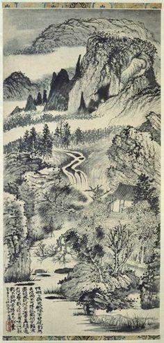Shitao (石濤, 1642-1707). Paysage à la cascade, Les monts Jingting en automne, ou Première peinture exécutée après une maladie, 1671. Rouleau vertical : encre de chine, peinture, papier. H. 86 cm, L. 41,7 cm. Paris, Musée national des arts asiatiques Guimet, inv.