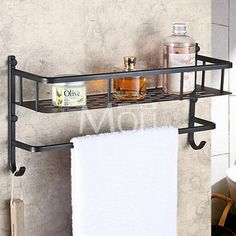 Superieur Oil Rubbed Bronze Bathroom Shelf Wall Mounted Dual Layer Multifunction  Storage Shelves With Towel Bar