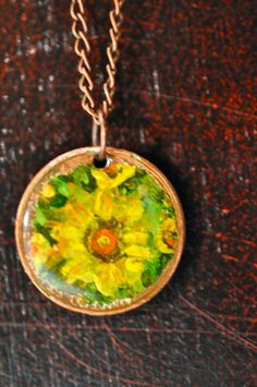 Hand painted Penny Necklace  Sunflower / Yellow by LaurenxJoy, $22.00
