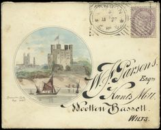 Hand Illustrated and Later Printed Envelopes: 1886 (Jan. 27th) fine watercolour vignette of Rochester Castle to left of envelope sent from London to Wootton Bassett, franked 1881 1d. lilac tied by Hoster machine cancel, fancy embossed monogram on flap, a little light staining.