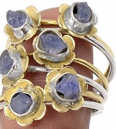 Natural 14K White and Yellow Gold Rough Cut Tanzanite 925 Sterling Silver Ring Size 8