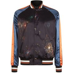 Valentino Firework Print Bomber Jacket ($1,935) ❤ liked on Polyvore featuring men's fashion, men's clothing, men's outerwear, men's jackets, mens short sleeve jacket, mens bomber jacket, mens leopard print jacket and mens retro jackets