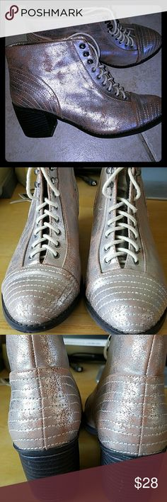 Michael Antonio metallic boots EUC cute booties! Metallic pale pink. Size 8 - 8.5. Scuff mark on insole side of right boot, as shown in photo. Michael Antonio Shoes Ankle Boots & Booties