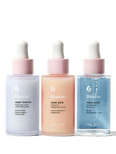 New Glossier Supers. These Glossier serums are new and improved! What's your favorite, Super Pure, Super Bounce or Super Glow? Beauty Care, Beauty Skin, Beauty Hacks, Diy Beauty, Face Beauty, Beauty Essentials, Summer Essentials, Serum, Skin Products