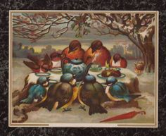 Two Birds Families Having Christmas Tea Party Victorian Stock Trade Card