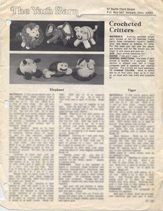 The+Yarn+Barn+Crocheted+Critters+Pattern