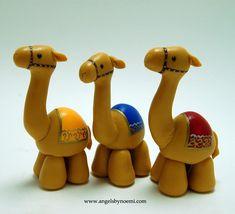 ONLY for Order - Camels Set - Christmas - Hand Sculpted - Cold Porcelain Figurines