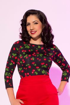 fed73e31b65 Image result for pinup girl clothing cherry boatneck top