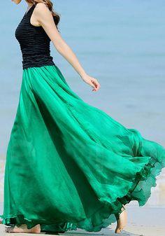 Emerald Green Circle Maxi Skirt