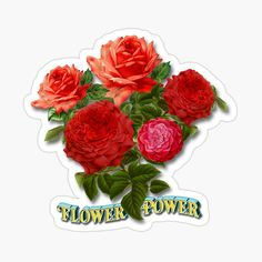 'Various products with the text, flower power in the background a bouquet of roses.' Watch by Tonony - Modern Flower Power, Vintage T-shirts, Rose Bouquet, Cool Designs, Super, Flowers, Plants, Roses, Sticker