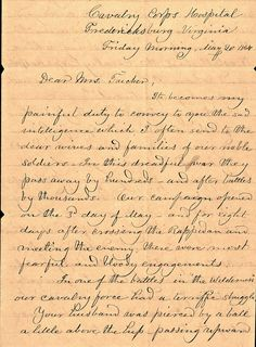 Sixth Michigan chaplain Stephen S.N. Greeley sent this four-page letter to Tucker's wife explaining the circumstances of the sergeant's death after he was wounded at the  Battle of the Wilderness