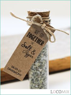 NEW! Herbal Gift Tubes are excellent wedding favours for your wedding guests! These original gifts come with a Craft card with a fun text like 'Love is the spice of life', 'You are tea-rific', 'Let love brew' and, as in the picture, 'We go together like Salt & Pepper'. Choose between Italian Herbs, salt and tea and personalise the card for a unique favour. Order your Herbal Gift Tubes from just 20 pieces!