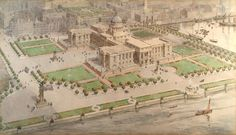 Proposal by James Thomson, City Engineer, for central improvement and city hall schemes just before the First World War. Dundee City, New City, Train Station, Paris Skyline, Engineering, Proposals, World, Centre, Beautiful