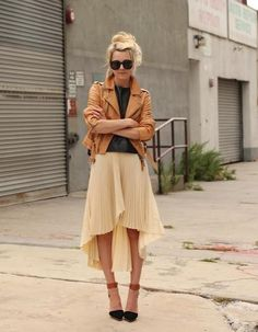 Leather jacket, skirt, heels...cute!