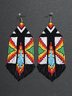 Native american beaded earrings peyote by HelenDmitrenkoShop