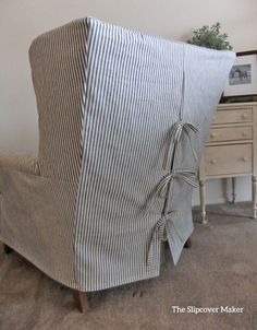 Slipcovers for chairs - Indigo Ticking Stripe Chair Slipcover Wingback Chair Slipcovers, Custom Slipcovers, Reupholster Furniture, Upholstered Furniture, Drop Cloth Slipcover, Chair Cushions, Ticking Fabric, Ticking Stripe, Furniture Makeover