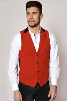 842d4e3382ec RED Formal Vest, Waistcoat Men, Formal Smart Casual, Double Breasted, Red  Velvet