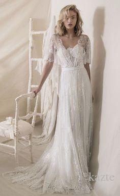 711f9ee2326 Discount Vintage 1950s  Lace Wedding Dresses 2018 Lihi Hod Lace Wrap  Elegant Sweep Train Bohemian