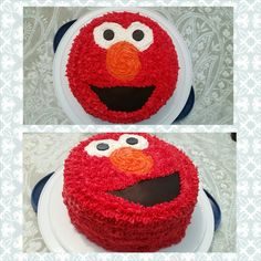 Easy DIY elmo cake. Double layer round cakes. Use black fondent for eyes and mouth.