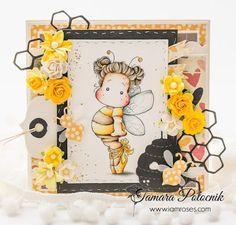 Handmade by Tamara: Bee Tilda ❀ I am roses Magnolia Colors, Bee Cards, Toned Paper, Yellow Paper, Ink Pads, Digi Stamps, Distress Ink, Watercolor Paper, Magnolias