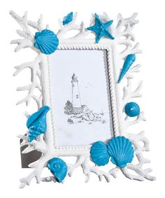 Look at this Turquoise Shell Picture Frame on #zulily today!