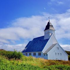 "Kewtie Bird on Instagram: ""Old church in the countryside .  #church #countrychurch #smøla #kirke #slateroof #view #island #brattværchurch #sky #mittnorge #travel…"""