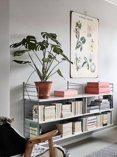 Ideas para decorar interiores con plantas String Regal, String Shelf, Cozy Office, Living Spaces, Living Room, Cozy Living, Deco Design, Home And Living, Interior Inspiration