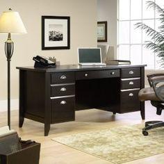 Shoal Creek Executive Office Desk in Jamocha Wood – Sauder 408920 – Executive Home Office Design Executive Office Desk, Home Office Desks, Home Office Furniture, Office Decor, Office Ideas, Office Designs, Desk Ideas, Room Ideas, Furniture Ideas