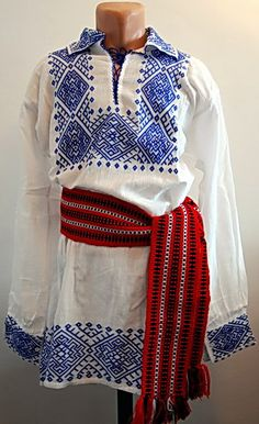 Romanian Man's Folk costume for sale. You can buy hand embroidered traditional costumes from Romania Banat area Roma Clothing, Sky Clothing, Clothing Patterns, Traditional Fashion, Traditional Dresses, Romanian Men, Stylish Suit, Costumes For Sale, Ethnic Dress