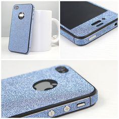 Blue glitter iPhone sticker