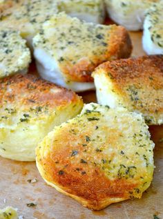 Parmesan & Parsley Pull-Apart Biscuits. Made with store bought refrigerated biscuit dough and 3 tablespoons butter, 1 teaspoon garlic powder, 1 teaspoon dried parsley, 1 teaspoon onion powder, 1 tablespoon parmesan cheese and 1/3 cup mozzarella cheese, shredded