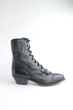 sz 6 vintage black leather roper boots / pointed by VerseauVintage, $225.00