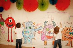 monster coloring wall