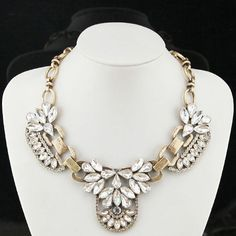 Crystal Diamond necklaceretro vintage Gem crytal by luminshop, $28.00