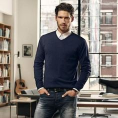 The intellectual guy...  #office #guy #men #outfit #shirt jeans #denim #style #fashion #trend
