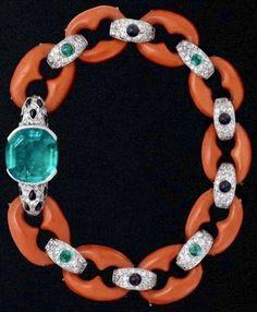 #Cartier #ArtDeco #bracelet of coral, emerald, diamonds & onyx.