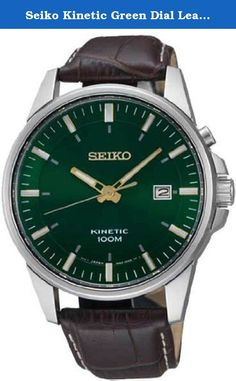 Seiko Kinetic Green Dial Leather Mens Watch SKA533. The Seiko Kinetic collection. Stainless steel case measures 41mm diameter by 11mm thick. Genuine brown leather strap. Green dial has gold tone hands and hour markers. Date display at the third hour. A scratch resistant Hardlex crystal protects the precise Kinetic movement. Water resistant to 100 meters.