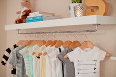 Make this cute #DIY nursery shelf with hanger space for under $20!