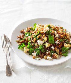 Australian Gourmet Traveller recipe for warm roast cauliflower, chickpea and quinoa salad.